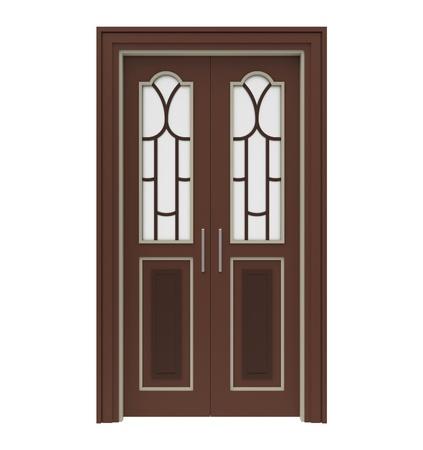 Holztüren mit Glas auf einem weißen Hintergrund Standard-Bild