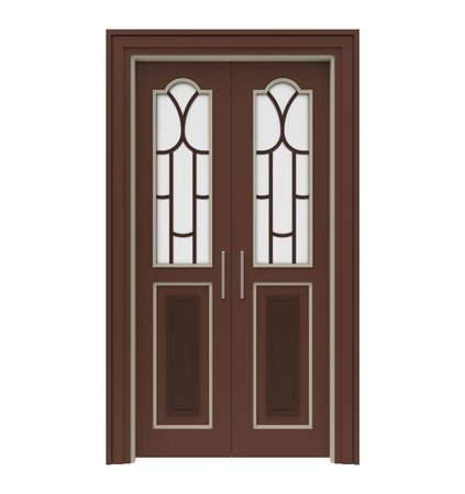 Wooden doors with glass on a white background
