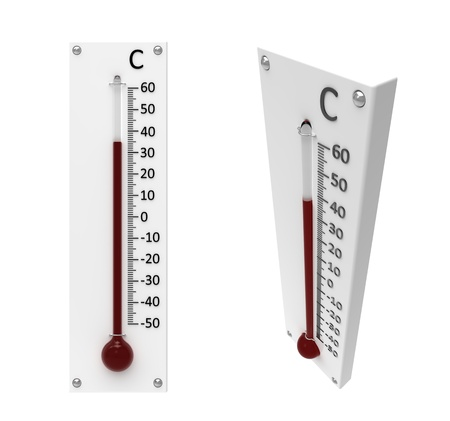 calibrated: 3d render of  thermometer on a white background