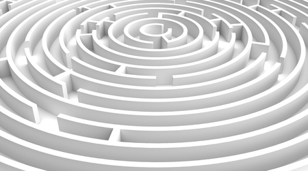 3d render of  white circle labyrinth Stock Photo