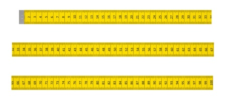 Ruler with a marking to one metre on a white background Stock Photo