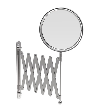 mirror on wall: Mirror sliding in a bathroom on a white background Stock Photo