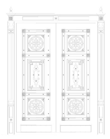 admittance: The drawing of entrance doors on a white background Stock Photo