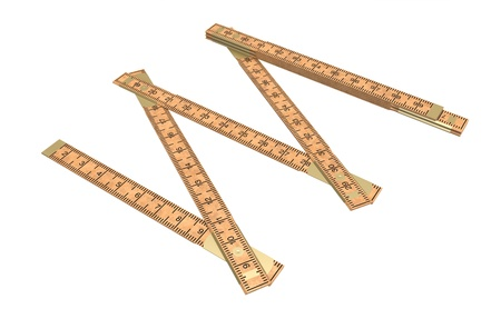 wooden metre: Carpenter a ruler wooden on a white background