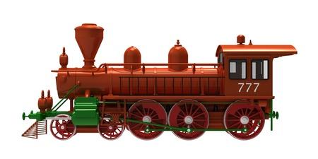 locomotora: La locomotora de vapor sobre un fondo blanco Foto de archivo