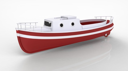 boat motor: 3d render of  boat motor on a reflecting surface