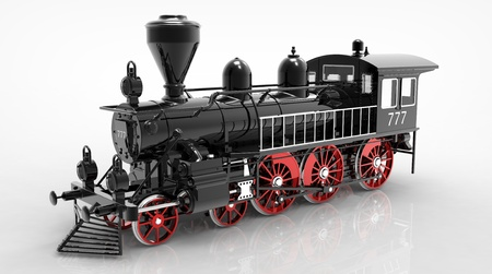 3d render of  locomotive steam on a reflecting surface