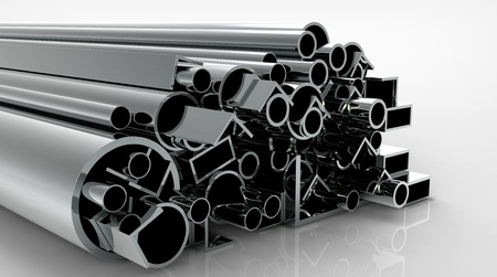 steel girder: 3d render of  metal pipes on a reflecting surface