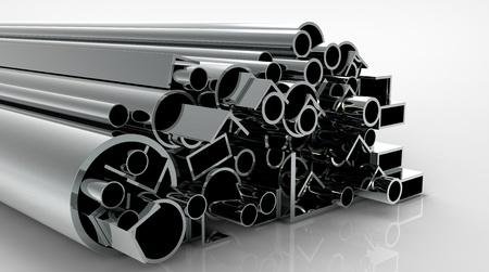 siderurgia: render 3D de tubos de metal sobre una superficie reflectante