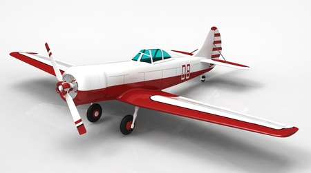 3d render of  sports plane on a reflecting surface