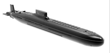 misil: El submarino nuclear sobre un fondo blanco Foto de archivo