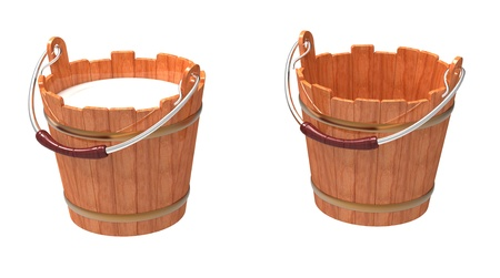 Wooden bucket filled and empty on a white background