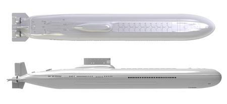 submarino: render 3D de submarino nuclear sobre un fondo blanco Foto de archivo
