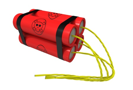 cartoon safety: 3d render of  dynamite on a white background
