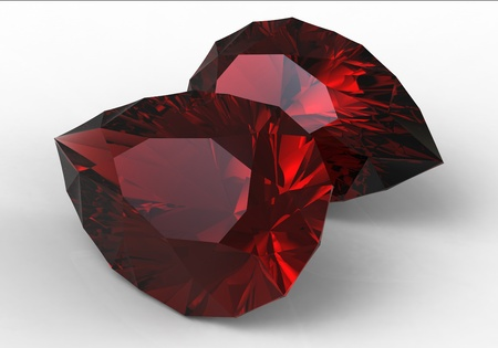 sapphire gemstone: 3d render of red  jewel in the form of a droplet on a surface Stock Photo