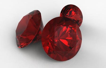 ruby stone: 3d render of  red jewels