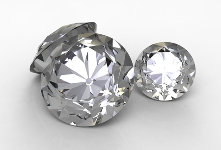 emerald stone: 3d render of  two jewels against Stock Photo