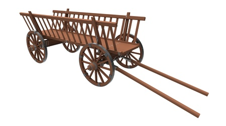 wood agricultural: Ancient cart on a white background Stock Photo