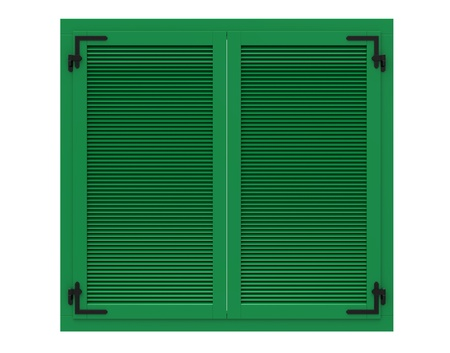 The closed wooden shutters on a white background