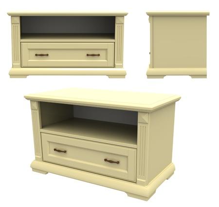 bedside: 3d render of  television bedside table
