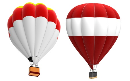 buoyant: 3d render of  hot air balloon isolated on a white background  Stock Photo