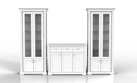 the high cupboard and chest of drawers on a reflecting surface