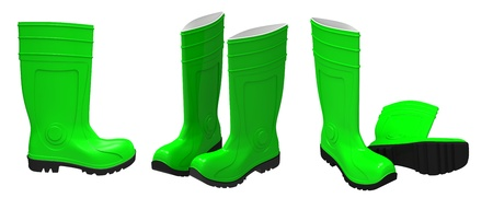 3d render of  green rubber boots on a white background Stock Photo - 10936206