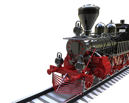 railway history: 3d render of  ancient train on a white background Stock Photo