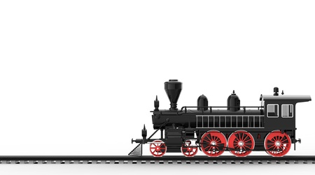 railway history: Ancient train on a white background