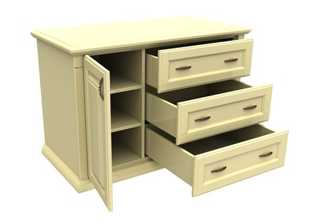 bedroom furniture: 3d render of  wooden dresser on a white background Stock Photo