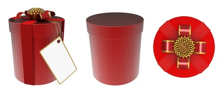christmasy: 3d render of  red gift box on white background