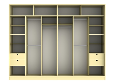 clothing rack: 3d render of  wardrobe on a white background
