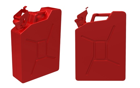 3d render of  red fuel container isolated on white background photo