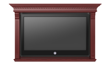 The modern TV in a niche on a white background photo
