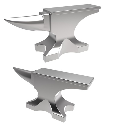 forge: 3d render of  anvil on a white background Stock Photo