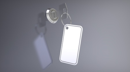 The key in the keyhole and a blank Stock Photo - 11139930