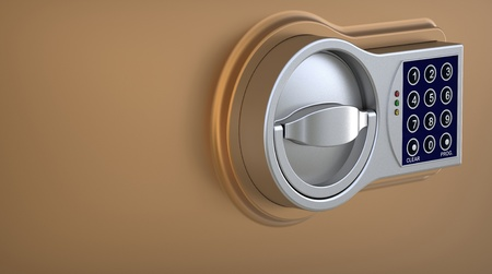 3d render of  electronic coded lock on a plane