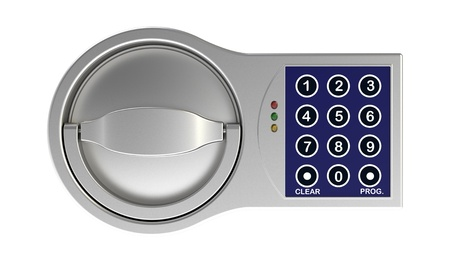secure home: The electronic coded lock on a white background