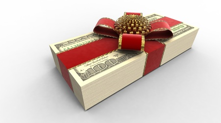 Roll of money in a gift tape on a plane Stock Photo