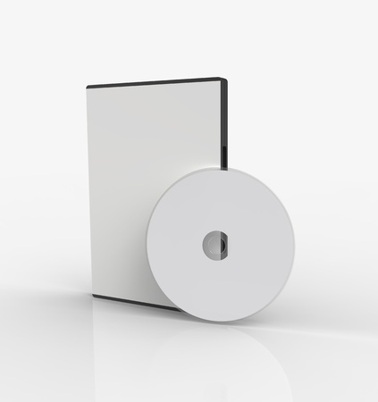 dvd case: 3d render of  box for DVD with a disk  Stock Photo