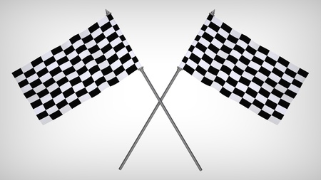 rallying: 3d render of  finishing flag on a grey background