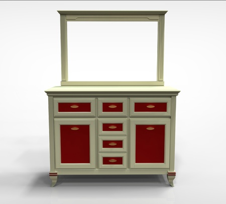 3d render of wooden chest of drawers with a mirror on the plane photo