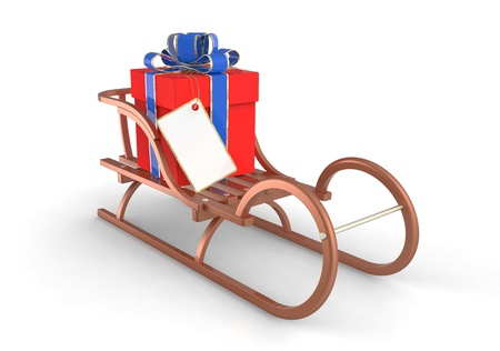 toboggan: Christmas sleigh with gifts