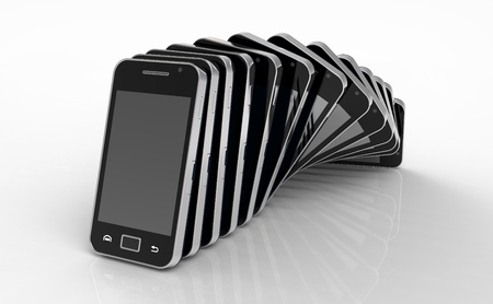 3d render of  Mobile phones standing in a row on plane