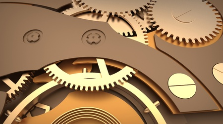 3d render of  clock mechanism with cogs