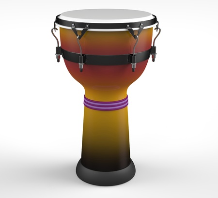 3d render of  African drum on white background photo