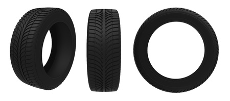 Car tire on a white background photo