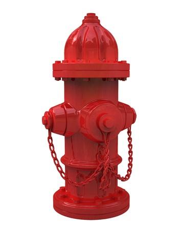 borne fontaine: Rendu 3D de bouche d'incendie sur fond blanc