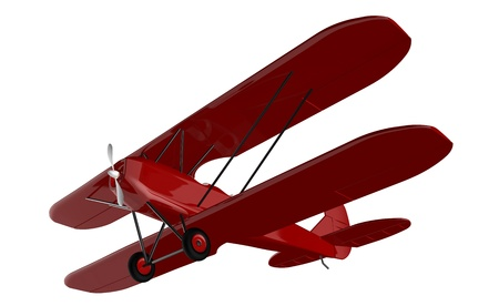 biplane: 3d render of  vintage aircraft on a white background
