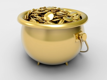Gold pot with gold coins